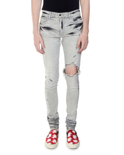 5f78fd1e960 Men s Straight-Fit Distressed Broken Denim Jeans