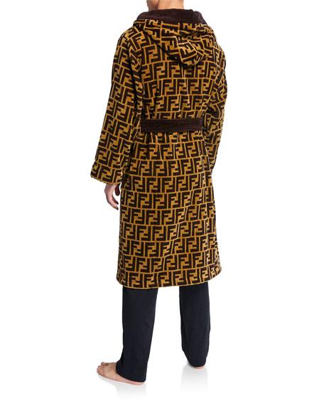 Men's Logo Jacquard Hooded Robe