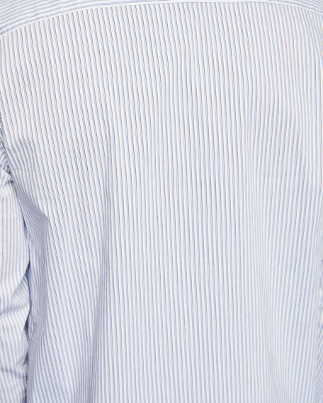 Men's Long-Sleeve Stripe Woven Sport Shirt