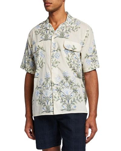 Men's Indo Floral-Print Short-Sleeve Sport Shirt