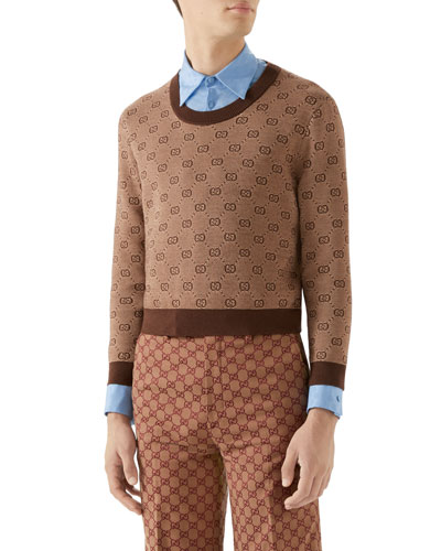 Men's Interlocking-G Intarsia Sweater