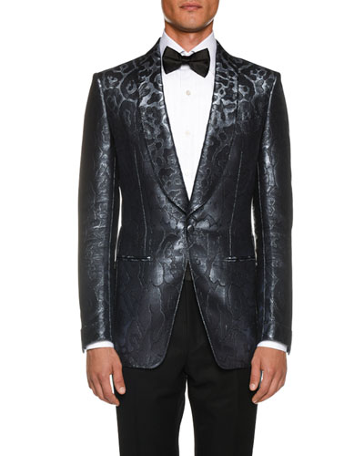 Men s Tonal-Print Satin Cocktail Dinner Jacket 93a742d763b
