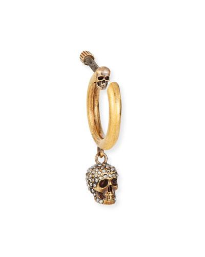 Men's Single Hoop Earring w/ Skull Dangle