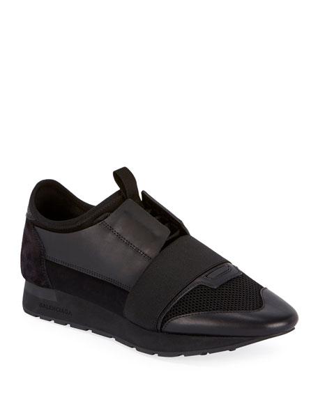 Balenciaga Men's Race Runner Sneakers, Black