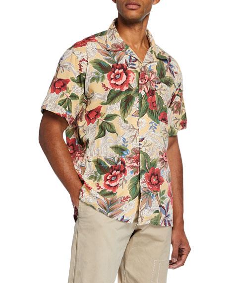 Engineered Garments Men's Short-Sleeve Hawaiian Print Camp Shirt