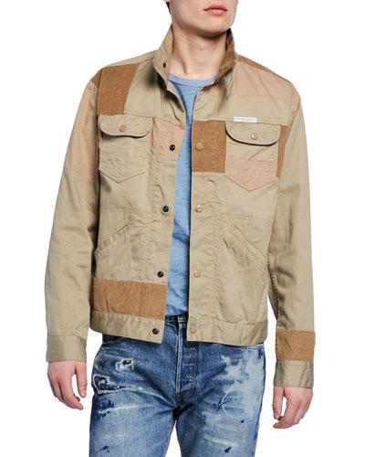 Men's Twill Patchwork Trucker Jacket