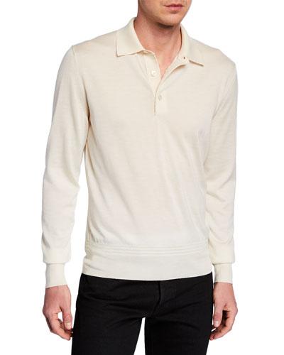 Men's Long-Sleeve Cashmere-Silk Polo Shirt