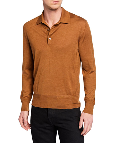 9d08c0481a8 TOM FORD Men s Long-Sleeve Cashmere-Silk Polo Shirt