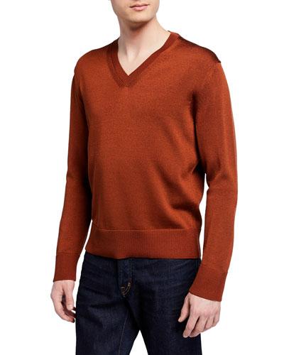 Men's Silk/Wool V-Neck Sweater