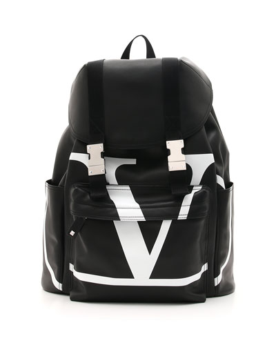 Men's VL Logo-Front Leather Backpack
