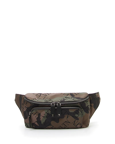 Men's Allover-Logo Camo Leather Belt Bag