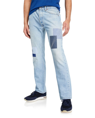 Men's The Avignon Patched Straight-Leg Jeans