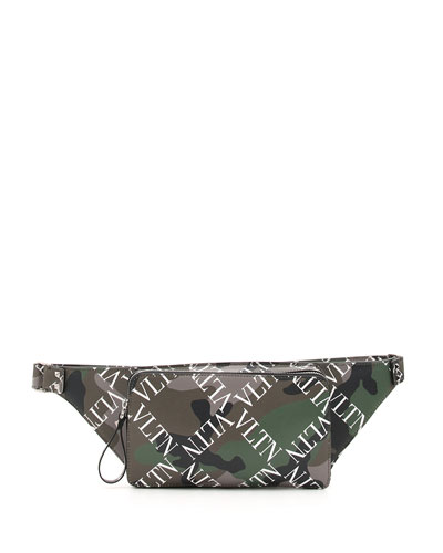 Men's Camo-Pattern Logo-Print Leather Belt Bag