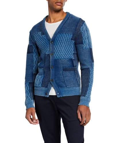 Men's Patchwork Button-Front Cardigan