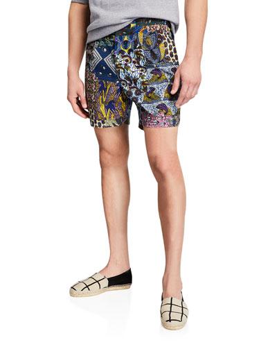 Men's Batik Patchwork-Print Shorts