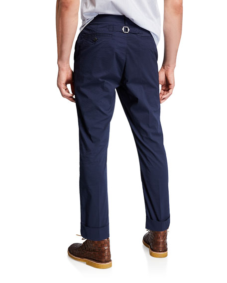 Men's Seersucker Cuffed Straight-Leg Trousers