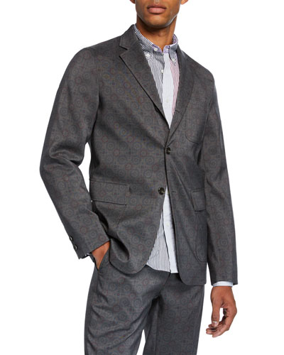 Men's Geometric-Print Three-Button Jacket