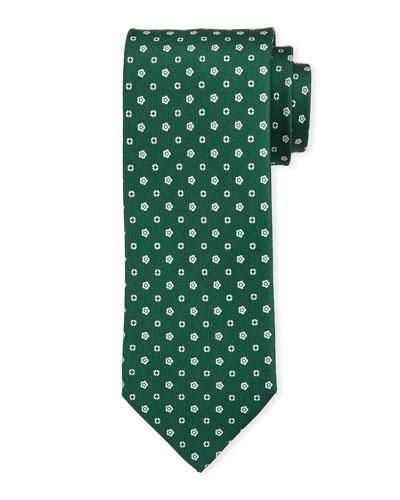 Small-Flower Silk Tie  Green