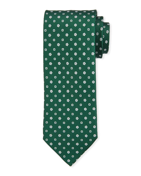 Bigi Small-Flower Silk Tie, Green