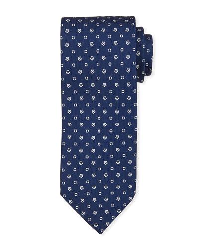 Small-Flower Silk Tie  Blue