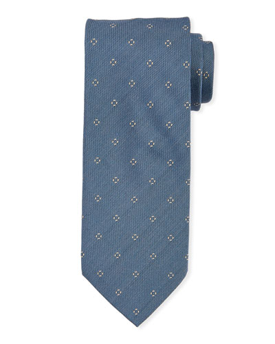 Small-Circle Silk Tie  Light Blue