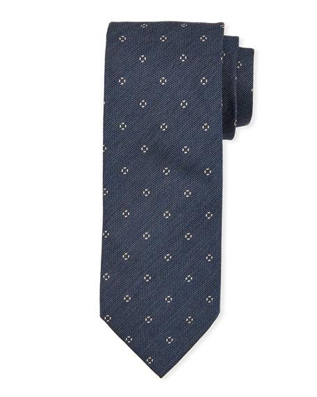 Small-Circle Silk Tie, Dark Blue
