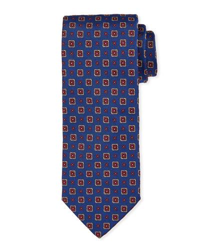 Medallion Silk Tie  Bright Blue