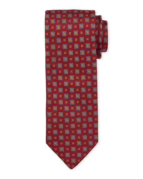 Bigi Medallion Silk Tie, Red