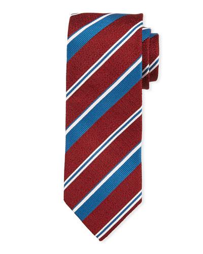 Striped Silk Tie  Red