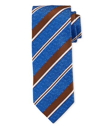 Striped Silk Tie  Blue