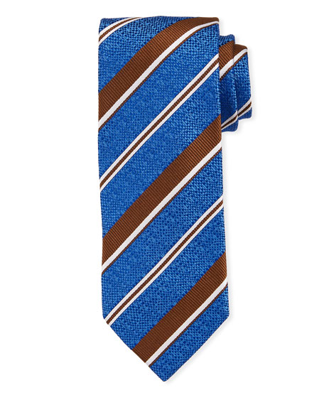 Bigi Striped Silk Tie, Blue
