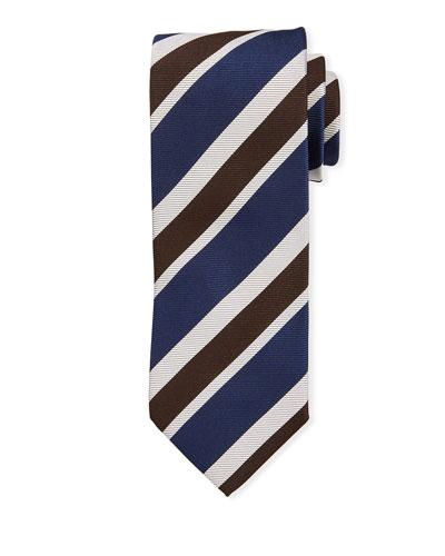 Multi-Stripe Silk Tie  Navy