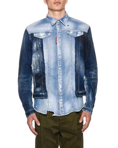 93a44ce71ad Dsquared2 Men s Mixed-Wash Denim Shirt w  Jean Jacket Combo