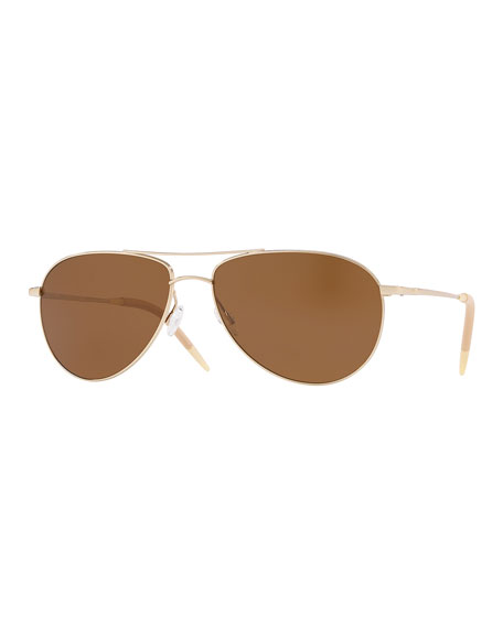 f5c083f9a6f Oliver Peoples Men s Benedict 59 Aviator Sunglasses - Polarized Lenses
