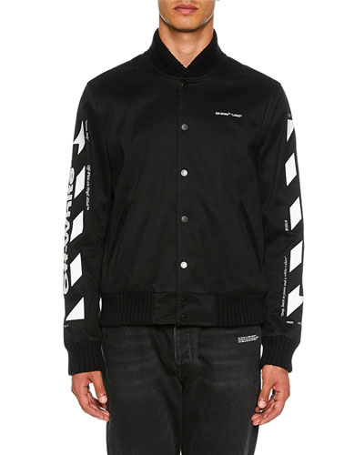 Men's Diagonal Skinny Varsity Jacket