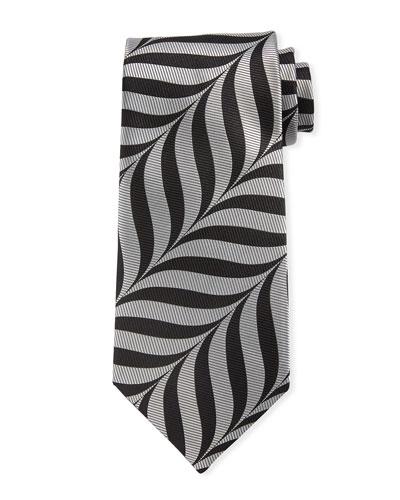 Abstract-Print 9cm Tie  Gray