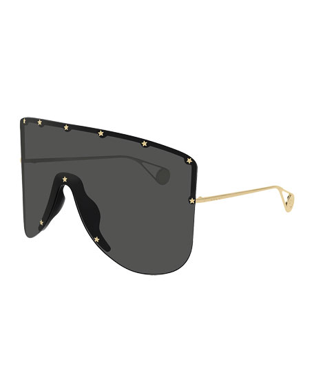 Men's Star-Trim Shield Sunglasses