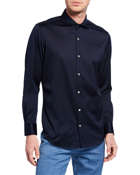 Loro Piana T-shirts MEN'S ANDREW JERSEY OXFORD SHIRT