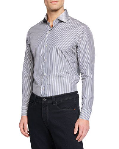 Men's New Alain Striped Flax-Blend Sport Shirt