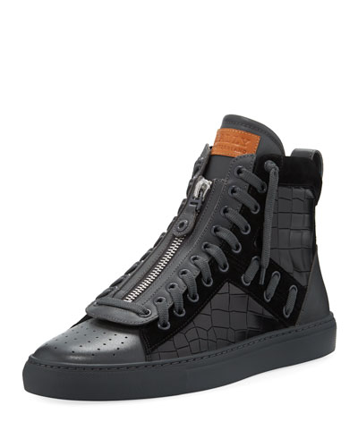 Men's Hekem Croc-Embossed Leather High-Top Sneakers