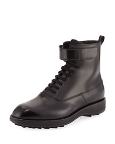 Leather Lace Up Combat Boot, Black by Prada