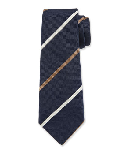 Bicolor Striped Silk Tie