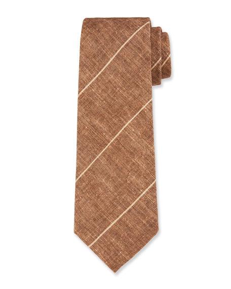 Brunello Cucinelli Thin-Striped Linen/Silk Tie