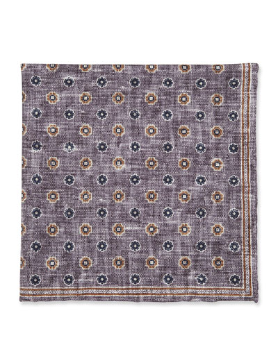 Floral-Pattern Silk Pocket Square