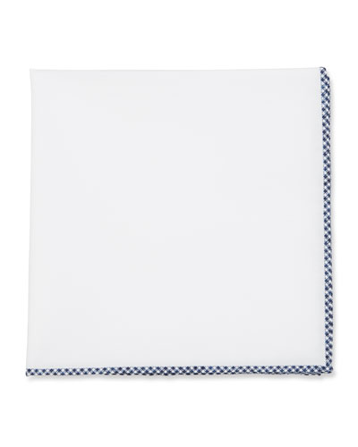 Gingham-Trim Cotton Pocket Square