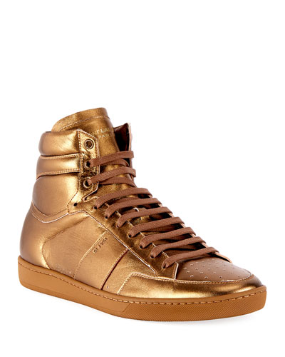 Men's SL/10H Signature Court Classic Metallic Leather High-Top Sneakers  Gold
