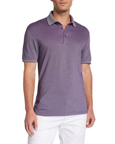 Men's Cotton Jersey Polo Shirt with Contrast Collar/Cuffs