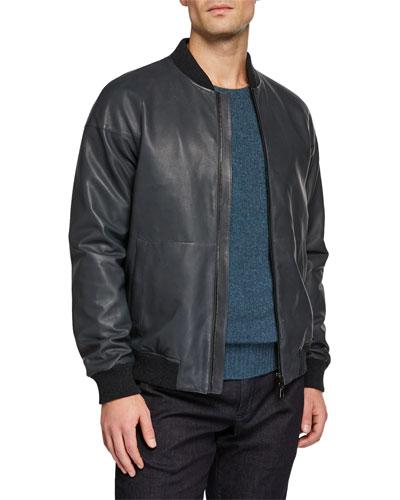 Men's Ivy Knit-Trim Bomber Jacket