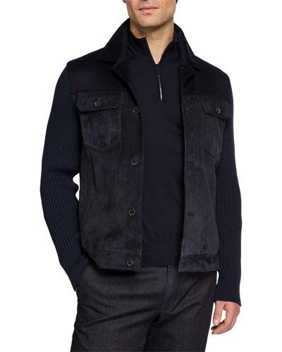 Men's Cashmere-Trim Suede Jacket