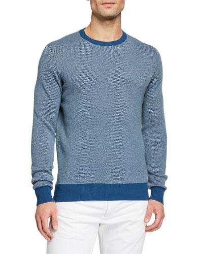 Men's Girocollo Birdseye Crewneck Baby Cashmere Sweater